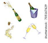 watercolor set of champagne ... | Shutterstock . vector #705167629