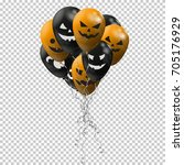 set of balloons. black and... | Shutterstock .eps vector #705176929