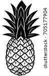 pineapple icon in black and... | Shutterstock .eps vector #705177904