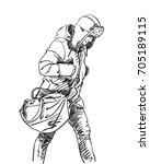 sketch of walking man with big... | Shutterstock .eps vector #705189115
