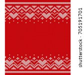 christmas knitted seamless... | Shutterstock . vector #705191701
