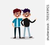 geek  nerd and smart of... | Shutterstock .eps vector #705193921