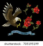 embroidery with roses and an... | Shutterstock .eps vector #705195199