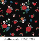 seamless rose rock pattern in... | Shutterstock .eps vector #705215905