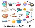 kitchen utensils vector... | Shutterstock .eps vector #705216295