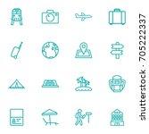 set of 16 travel outline icons... | Shutterstock .eps vector #705222337