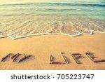 life meditation concept. middle ... | Shutterstock . vector #705223747