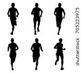 set of running marathon sports... | Shutterstock .eps vector #705223975