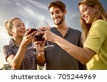 cheers with red wine drinking... | Shutterstock . vector #705244969