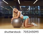 pretty woman with long blonde... | Shutterstock . vector #705245095