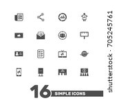 set of 16 trade icons set... | Shutterstock .eps vector #705245761