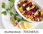 vegetarian appetizer with... | Shutterstock . vector #705248521