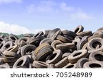 heap of old tires  in recycling ...   Shutterstock . vector #705248989
