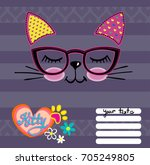 cat face on stripes background... | Shutterstock .eps vector #705249805