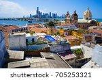 old town of cartagena unesco... | Shutterstock . vector #705253321
