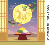chuseok or hangawi   korean... | Shutterstock .eps vector #705257209