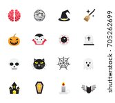 halloween icons. set of... | Shutterstock .eps vector #705262699