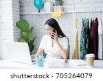 online salesman explain to... | Shutterstock . vector #705264079