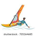 summer water beach sports ... | Shutterstock .eps vector #705264685
