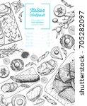 italian food top view  vertical ... | Shutterstock .eps vector #705282097
