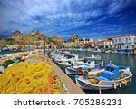 the small fishing port and in... | Shutterstock . vector #705286231