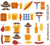octoberfest icons and patterns... | Shutterstock .eps vector #705287629