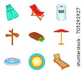 pool icons set. cartoon set of... | Shutterstock .eps vector #705292927