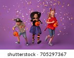 happy brother and two sisters... | Shutterstock . vector #705297367