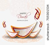 happy diwali card. vector... | Shutterstock .eps vector #705301534