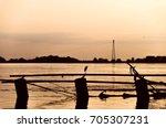 orange sunset silhouette scene... | Shutterstock . vector #705307231
