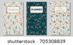 vector set of floral covers for ... | Shutterstock .eps vector #705308839