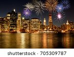 fireworks over new york city... | Shutterstock . vector #705309787