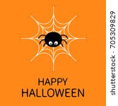 happy halloween card. spider on ... | Shutterstock .eps vector #705309829