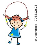 girl and rope  vector icon | Shutterstock .eps vector #705312625
