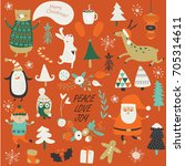 christmas cards with cute santa ... | Shutterstock .eps vector #705314611