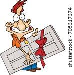 cartoon happy man holding a... | Shutterstock .eps vector #705317374