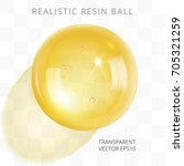 yellow transparent resin ball.... | Shutterstock .eps vector #705321259