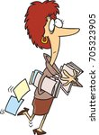 cartoon business woman with her ... | Shutterstock .eps vector #705323905