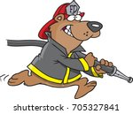 cartoon firefighter bear... | Shutterstock .eps vector #705327841