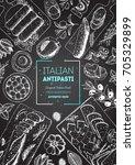 italian food top view  vertical ... | Shutterstock .eps vector #705329899
