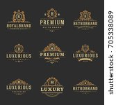 luxury monograms logos... | Shutterstock .eps vector #705338089