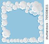 paper art style.flower card...   Shutterstock .eps vector #705338311