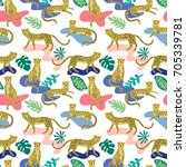 seamless pattern with cute... | Shutterstock .eps vector #705339781