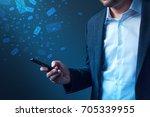 businessman sending bulk... | Shutterstock . vector #705339955