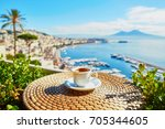 cup of fresh espresso coffee in ... | Shutterstock . vector #705344605