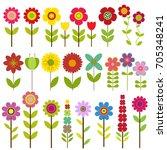 vector set of nature themed.... | Shutterstock .eps vector #705348241
