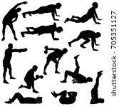 vector icons of man doing sport ... | Shutterstock .eps vector #705351127