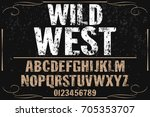 vintage font  handcrafted... | Shutterstock .eps vector #705353707