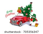 christmas card. red retro truck ... | Shutterstock .eps vector #705356347