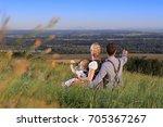 a familiy in german austrian... | Shutterstock . vector #705367267